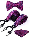 Hisdern Paisley Floral 6 Clips Suspendedor & Corbata de mono & Bolsillo Cuadrado Set Forma Y Ajustable Tirantes Pink-2