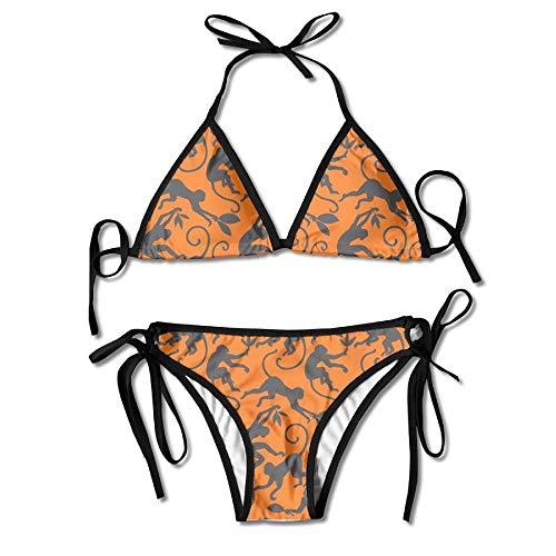 Monkey Seamless Mode Bikini Women's Summer Swimwear Triangle Top Bikinis Swimsuit Sexy 2-Piece Set -
