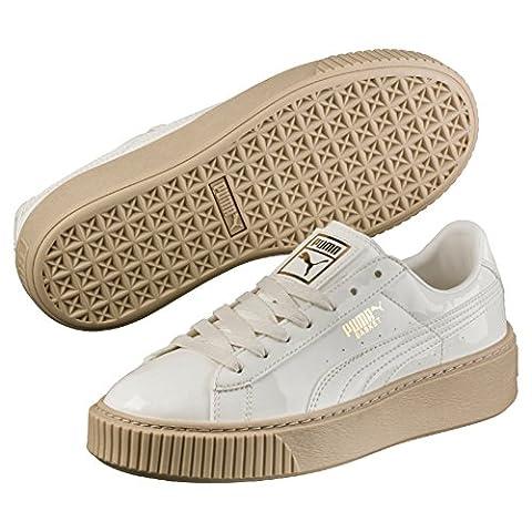 Puma Basket Platform Patent, Sneakers Basses Femme, Blanc (Marshmallow-Marshmallow), 37.5 EU