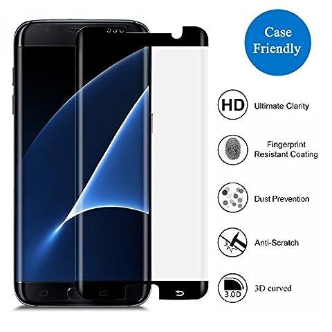 Samsung Galaxy S7protection d'écran avec les bords, protection d'écran en verre 3H premium [3D Couverture] [Case-friendly] [pas facileà déposer], Épaisseur HD cristal transparent avec Dureté de 9H pour Galaxy