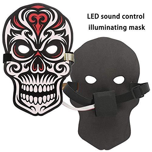 M & M MARS Halloween Helle Stimmenmaske, Reaktiv-Sound-Maske mit LED-Licht, komplettes Licht bis zu Maske Balle Rave Party (Schädel)