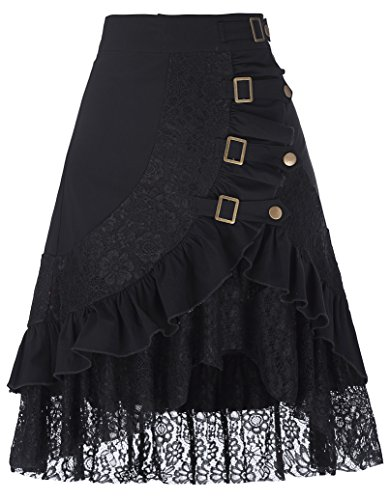 Belle Poque Steampunk Gothic Vintage Victorian Gypsy Hippie Lace Falda