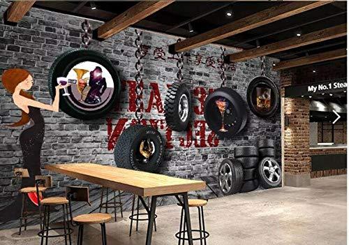 Tapete benutzerdefinierte 3D Fototapete Wandbild Retro Autoreifen Bar Hintergrund Wand dekorative Malerei @ 250 * 175cm