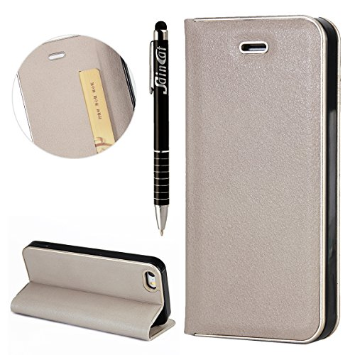 Custodia iPhone 5S, iPhone SE Flip Case Leather, SainCat Custodia in Pelle Cover per iPhone 5/5S/SE, Anti-Scratch Book Style Protettiva Caso PU Leather Flip Portafoglio Custodia Libro Protettiva Custo Grigio