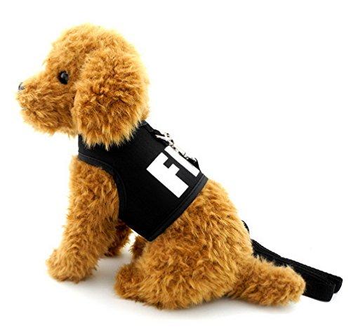 ranphy Vest Kleine Hunde Katze Harness mit FBI Buchstabe Mesh Gepolsterte Kaninchen Geschirr Leine Set Pet Weste Chihuahua Kleidung (Leine Vest Harness)