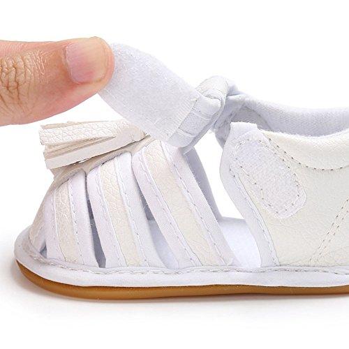 Juleya Scarpe da passeggio antisdrucciolevoli dei sandali delle nappe delle neonate infantili dei neonati appena nati argento 0-6M bianca