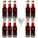 10 leere Glasflaschen mit Schraubverschluss Motiv: Winterlandschaft, 250ml