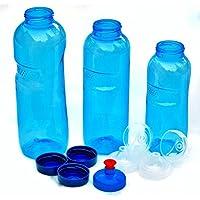 3x Original Kavo Drink Tritan botella 100% Sin plastificantes y contaminantes Juego: 1x 1l (redondo), 1x 0,75litros (redondo), 1x 0,5l (redondo) + 3estándar Tapa + 2Sport Tapa (FlipTop) + 1–Tapa (Push Pull)
