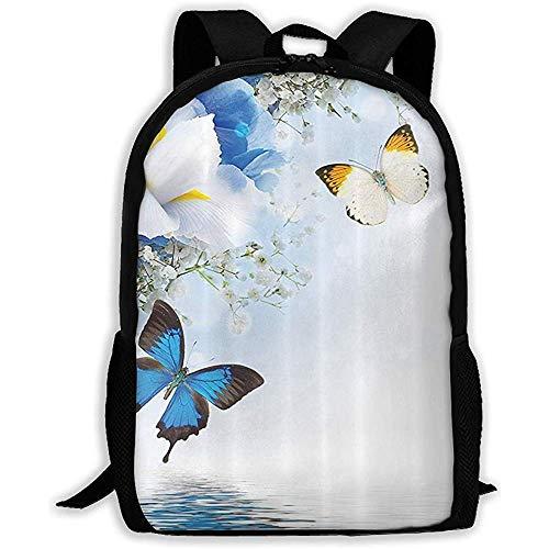 Resort Spa Wohnkultur Blau Weiß Wildblumen Monarch Gelb Schmetterlinge Schulrucksäcke wasserdichte Schultaschen Robuste Reise-Campingrucksäcke für Jungen und Mädchen -