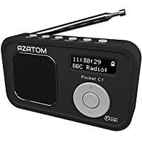 AZATOM Pocket C1 DAB Digital FM Radio Alarm Clock - Portable - Rechargeable Battery (Upto 16 Hours Playtime) / Mains Powered - Compact - Integrated Speaker - Premium Quality - Pocket Personal Portable Travel Radio - Future Ready - Black (Certified Refurbi