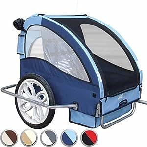 Infantastic - Remorque à vélo pour enfants - 2 places - L/L/H : env. 140/90/75 cm - Bijou Bleu (bleu) - COLORIS AU CHOIX