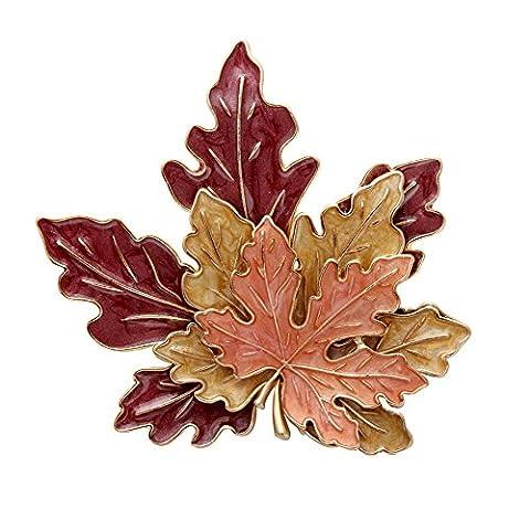 Senfai Golden Tone Metal Red Yellow Orange Enamel Maple Leaf Fashion Brooch Pins (gold)