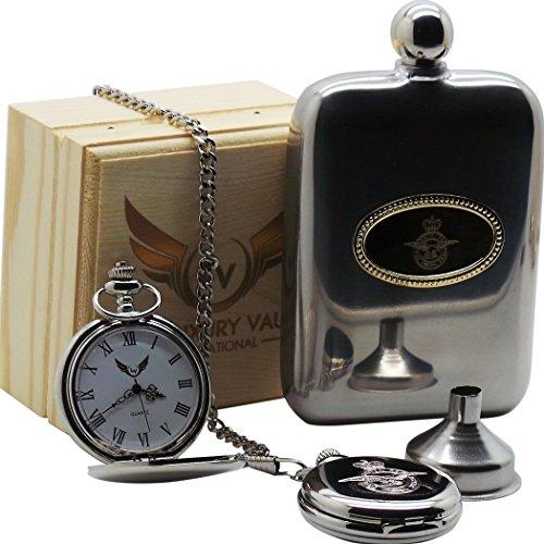 Silberne Taschenuhr und Flachmann mit RAF-Wappen, hochwertige Gravur, Geschenk-Set, Royal Air Force, Militär China Tankard