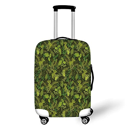 Travel Luggage Cover Suitcase Protector,Sage,Evergreen Christmas Tree Coniferous Fir Pine Leaves Retro Seasonal Forest,Olive Green Pale Green,for Travel M