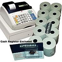Pack básico de la marca EPOSBITS® para caja registradora Olivetti ECR7100. 10 rollos y 1 cartucho de tinta