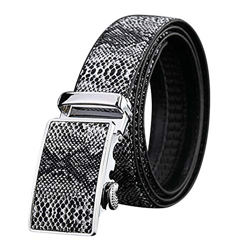 Syfinee Men Automatic Buckle Ratchet Belt Leather Snake Skin Embossed Exact Fit Gift Snake-leather-tan