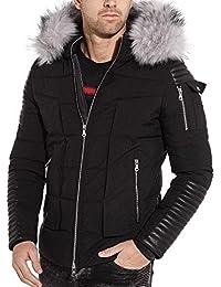 BLZ jeans - Doudoune parka hiver à capuche fourrure et empiècement aspect cuir noir