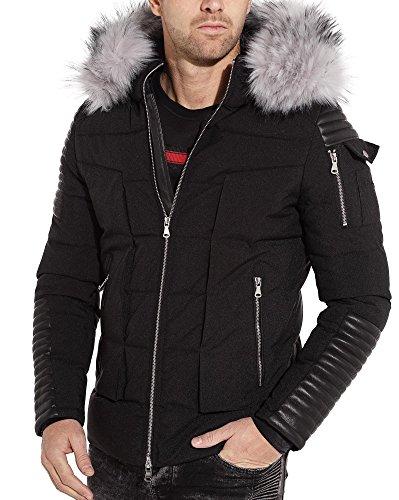 BLZ jeans - Doudoune parka hiver à capuche fourrure et empiècement aspect cuir noir - couleur: Noir - taille: L/XL