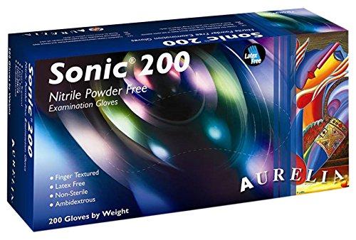 Sonic 200 9377 A5 Gants d'examen en nitrile sans poudre, taille XS, Bleu (lot de 200)