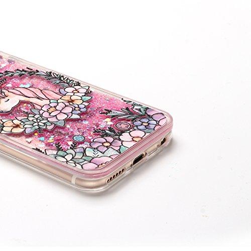 Coque iPhone 6S Plus , Glitter Liquide TPU Etui Coque pour iPhone 6 Plus , CaseLover Licorne et Fleur Motif Mode Etui Coque Dynamic Etoiles Paillettes Sable TPU Slim pour Apple iPhone 6 Plus / 6S Plus Rose2