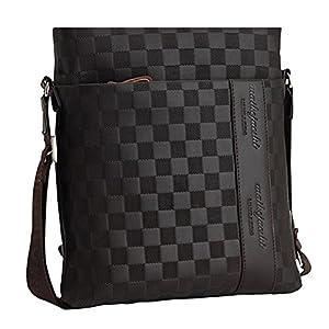 Unbekannt MissFox Herren Geschäft Tasche Normallack Plaid Glatte Metall Reißverschluss Setzen iPad und Dokumente Können