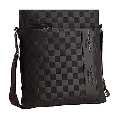 MissFox Herren Geschäft Tasche Normallack Plaid Glatte Metall Reißverschluss Setzen iPad und Dokumente Können Braun