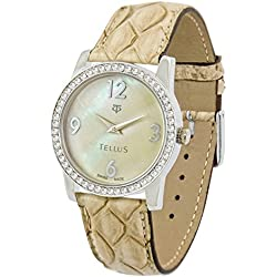 Tellus - Vintage - Luxury Women's watch with ivory mother of pearl dial, beige strap in Genuine python, Swiss Made - T5068DI-108