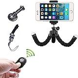 Mini Portable Trépied Flexible Smartphone iPhone avec Support et Télécommande Bluetooth pour iPhone Smartphone et Appareil Photo