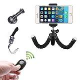 Mini Handy Stativ Flexibel Smartphone iPhone Stativ mit Halterung und Bluetooth Fernbedienung f�r iPhone Smartphone und Kamera Bild
