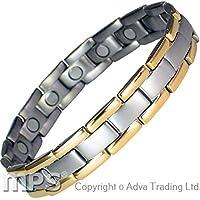 IonTopia Atlas Titan Magnettherapie-Armband Gold Kanten mit Gliederentfernungswerkzeug preisvergleich bei billige-tabletten.eu