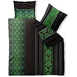 3-teilige Sommer-Bettwäsche | 4-Jahreszeiten 200 x 220 cm | Baumwolle Trend Nadra 3 tlg. | gestreift gemustert braun schwarz grün