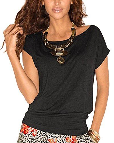T-shirt Collo a V per Donna Maglietta Casuali Camicia Slim Maniche Corte girocollo Tops Rosso Nero