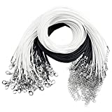 Joeyer 100 Pcs Cable de Cera Cuerda Trenzada, Cuerda Cordones de Collar Ajustable Collar para Bricolaje Collares Pulsera (50 Blancos+50 Negros)