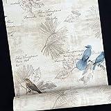Papel de contacto autoadhesivo patrón de pájaros azules, revestimiento de estanterías, adhesivo integrado, 45 cm x 298 cm, SimpleLife4U.
