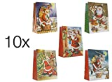 10x Weihnachtstasche Geschenktasche Geschenktüte Weihnachtstüte Geschenktasche für Weihnachten, Nikolaus, Geburtstag (10x Santa 3D)