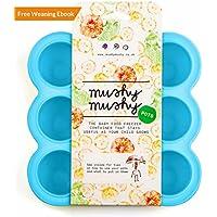 Pots de sevrage par Mushy Mushy-Boîte de conservation de nourriture pour bébé, facile a démouler, avec couvercle pour éviter les brûlures de congélation- En silicone, sans BPA - Avec eBook de recettes gratuit (français non garanti)-Donnez à votre bébé le meilleur - Couleur Bleu