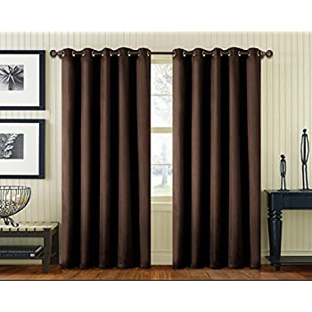 Luxury Faux Silk Pair Of Curtains With Free Tiebacks Ring Top Eyelet Plain  Colours (90x90, Chocolate)