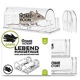 HomeVictory - Trappola per topi, set da 2 pezzi, trasparente, con materiale ABS extra resistente, con design discreto e guanti di protezione