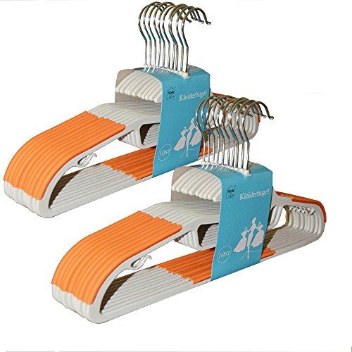 Style home 20 Stück 0,6cm dicke Kleiderbügel Anzugbügel mit rutschfester Oberfläche 360° drehbarer Haken Orange KB-G001-02