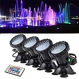 jinclonder Unterwasserscheinwerfer, wasserdichter LED-Beleuchtungs-Scheinwerfer RGB 36 LED...