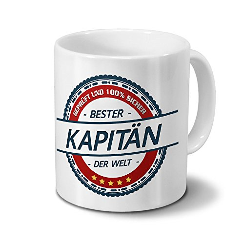 Tasse mit Beruf Kapitän - Motiv Berufe - Kaffeebecher, Mug, Becher, Kaffeetasse - Farbe Weiß