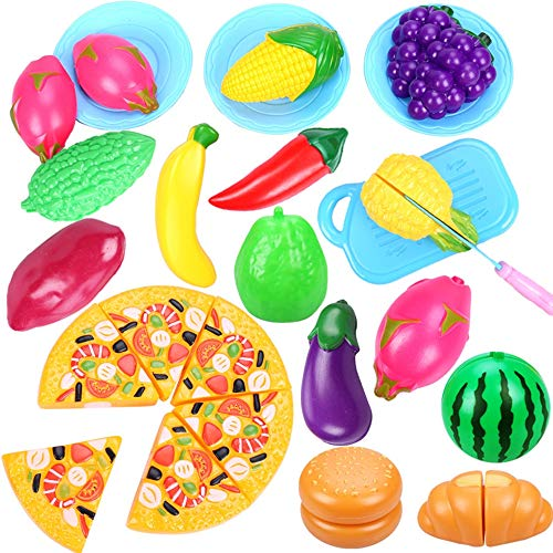 YANGTIANYUAN 47 Stücke / 32 STÜCKE Schneiden Spielzeug Spielen Essen Obst Und Gemüse Küche Spielzeug Bildung Lernspielzeug Jungen Und Mädchen Kinder (Mit Korb) (Spiel-essen Schneiden)