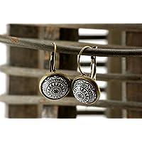 orientalische Ohrringe Ornamente grau weiss Vintage
