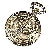 PACIFISTOR® Skeleton Mechanical Pocket Watch Steampunk Roman Half Hunter Bronze Steel
