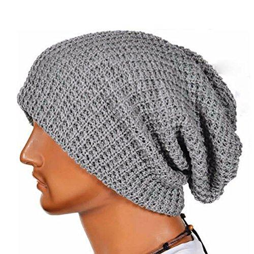 Herren und Frauen Muslimische Stretch Turban Mütze Frauen Häkeln Beanie Haarausfall Kopf Schal Wrap Hijab Mütze Slouchy Unisex Caps Hut Strickmütze (Grau)