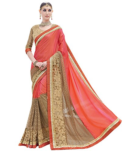 DesiButik\'s Graceful Multi Two-Tone Satin And Rassel Net Saree