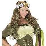 Amakando Zauberhafte Märchen-Perücke Fee für Damen / Brünett-Grün / Faschingsperücke mit Blumen-Haarschmuck / EIN Highlight zu Mottoparty & Festival