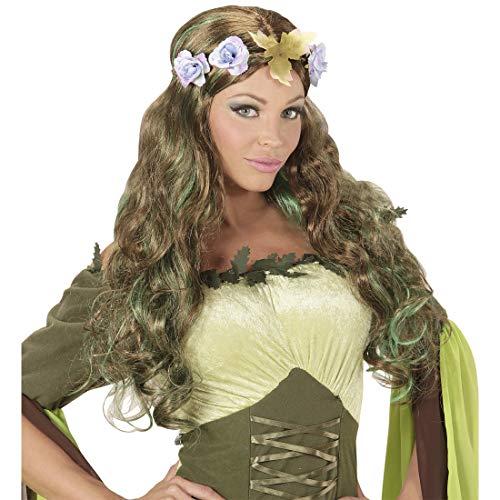 Blumen Kostüm Frauen Fee - Amakando Zauberhafte Märchen-Perücke Fee für Damen / Brünett-Grün / Faschingsperücke mit Blumen-Haarschmuck / EIN Highlight zu Mottoparty & Festival