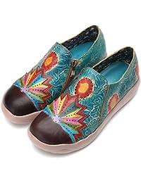 Gracosy Mocassins Femmes Filles, Chaussures Bateau de Ville en Cuir à Talons  Plats Mary Janes Plates avec… 58f5de7a0031