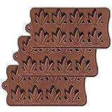 Ishua 3 pezzi Stampo in silicone per foglie di marijuana, stampi gommosi al cioccolato Vassoi per cubetti di ghiaccio per toppers cupcake Cioccolato al sapone